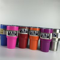 Wholesale 12 Colors Yeti oz Cups Cooler YETI Rambler Tumbler Cup Stainless Steel Vehicle Beer Mug Double Wall Bilayer ml DHL