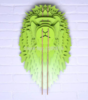 african wall wood art - 3D Lion head wall hanging ornament wall decor home decoration wall art MDF decorative wood wooden carving African lion crafts