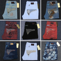 Wholesale 2016 New Men s Robin Jeans Denim Pants with Crystal Studs Flap Pockets Gold Wings Clip Washed Designer Cowboy Jean us size