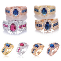 Wholesale Famous Brand Luxury Style Lady s Wedding Ring High Quality K Real Gold Plated AAA Crystal Rings For Women