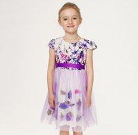 belted tunic - 2016 Beautiful Girls D Flora Applique Dress Girls Cap Sleeve Tunic Belt Cotton Dresses Clothing Purple K7628