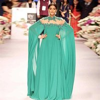 Cheap Gorgeous Bright Green Sonam Kapoor Long Sleeves Indian Style Prom Dress High Neck Sheer Back Sexy Evening Dresses