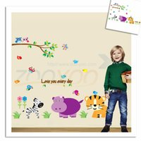 american kids monkey - 100pcs monkey elephant lion zoo animal wall stickers for kids room ZooYoo9046 removable pvc wall decals home decoration DIY