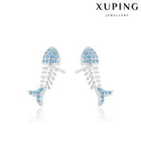 animal bone jewelry - Korean Style Blue Zirconia Stud Earrings Fish Bone Rhodium Plated Copper Ear Knot For Women Xuping Low Price Jewelry Earrings for Date Party