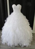 Nouvelle ligne de mode A-ligne Robes de mariée Sweetheart Lingette Applique Organza Ruffles Robes de mariée Taille de stock 6-8-10-12-14-16