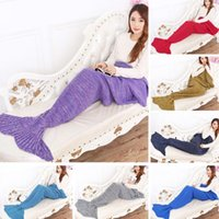 Wholesale Yarn Knitted Mermaid Tail Blanket Handmade Crochet Mermaid Blanket Kids Throw Bed Wrap Super Soft Sleeping Bed