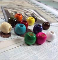 big crimp - Colorful Wooden beads Big hole mm DIY natural wood balls loose bead kids diy toy pj5
