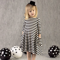 Wholesale DER22 Spring Autumn Black White Striped Sleeve O neck girl Dress Kids Irregular Elegant Casual Girl Dress Princess Dress