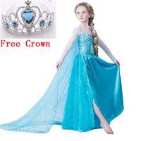 Wholesale 2016 elsa dress girls Dress Custom anna Cosplay Dress kid fantasia vestidos infants Dress Princess Costume Children