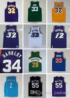 Wholesale Throwback Basketball Jerseys Larry Bird Magic Johnson Stockton Karl Malone Jason Williams Ewing Gary Payton Kemp Barkley Jersey