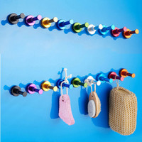 bathroom wall clothing - 150pcs Space Aluminum Multi colour DIY Towel Wall Hook Bathroom Kitchen Clothes Key Hat Bag Hanger Rack Holder ZA0407