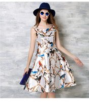 Wholesale The New Arrival European And American Fashion Printing Slim Sleeveless Waist Vest Dress For Women