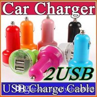 Wholesale 200X Colorful Mini Car Charger ports Cigarette Port A Micro auto power Adapter Nipple Dual USB for Phone s plus samsung s7 M SC