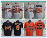 baltimore products - New Product Baltimore Orioles Baseball Jersey Ripken RICK DEMPSEY BOOG POWELL MURRAY White Black Orange Throwback Jerseys