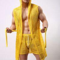 Wholesale Men Sleepwear robe men New arrival summer sexy fashion bathrobe Man home gay male sex cute see through net clothing