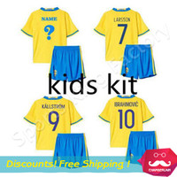 best kids wear - Children kids Sweden jersey Suit Best Thailand Quality Kids Ibrahimovic jersey Boys Athletic Wear child football shirts