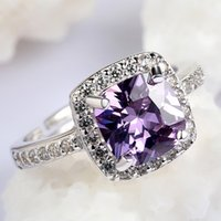 Wholesale Fashion adjustable ring for women Christmas gift silver square purple CZ ring DNF00141