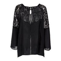 bell micro - 2016 European And American Fashion Sexy New Perspective Openwork Stitching Lace Trumpet Sleeves Women Micro Bomb Comfortable Shirt B