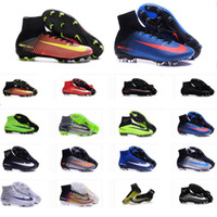 b cup - 16 colors Cheap Top Mercurial Superfly FG Soccer Shoes Boots Football World Cup Boots CR High Ankle original Brand soccer Cleat