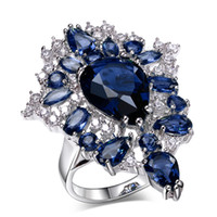 Wholesale Unique Design and High Quality Rhodium plate with Colors Cubic Zirconia Stones Party Rings