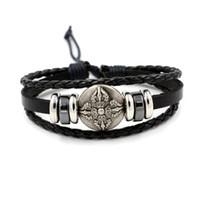 Simple Stretching Cross Shield Bracelet Mens Bracelet en cuir bracelets Infinity Couple d'envoyer des hommes et des femmes Amis Cadeaux