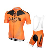 bianchi racing - 2016 Bianchi Orange Cycling Jerseys Short Sleeves MTB Road Racing Ropa Ciclismo Quick Dry Compressed Bike Wear XS XL
