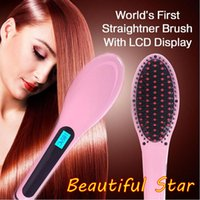 aluminum plug - Beautiful Star White Pink Straightening Irons Come With LED Display Electric Straight Hair Comb Brush US EU AU UK Plug