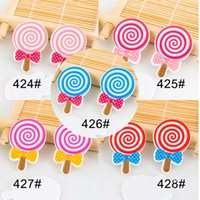assorted lollipops - 50pcs Mixed Children Lollipop Flatback Resins Assorted Multicolor Sugar DIY Crafts Planar Resin for Home Decoration Accessories