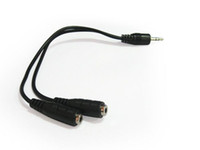 Wholesale Black Male To Female mm AUX Audio Y Splitter Cable High Quality Earphone Headphone Adapter