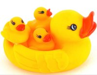 big rubber duck - Cute Baby Girl Boy Bath Bathing Classic Toys Rubber Race Squeaky Ducks Set One Big And Three Small Yellow Duck jy551