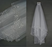 Wholesale 2016 New Handmade Wedding Bridal Veils Layer Beadde Crescent edge Bridal Accessories Veil White and Ivory color in stock