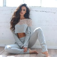 american football latest - Latest Fashion Gray Cotton Women Tracksuits Casual Two Pieces Sporting Suits Sheer Tulle Long Sleeve Crew Neck T Shirt and Pants