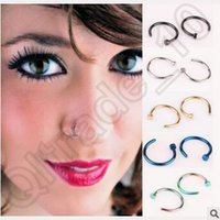Wholesale 500pcs CCA4338 High Quality Nose Rings Body Art Piercing Jewelry Fashion Jewelry Stainless Steel Nose Open Hoop Earring Studs Fake Nose Ring