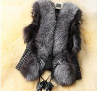 Women belted coat with fur collar - S XL European New Winter Women Coat Slim Fur Coat Fashion Women Fur Vest Black Back PU Faux Fur Outerwear Coats for Ladies Plus Size