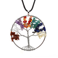 amethyst tree - Rainbow Chakra Amethyst Tree Of Life Multicolor Wisdom Tree Natural Stone Necklace Quartz Chips Leather Pendant Necklace