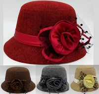 Wholesale Autumn and Winter Elegant Linen Women s Fashion Cap Ladies Flower Lace Bucket Hat Women Small Fedoras Hat Cloche Headwear