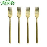 Wholesale JANKNG Heavy Duty Dinner Fork Flatware Set Gold Stainless Steel Dinnerware Fork for Dinner Salad Dessert Fruit Fork