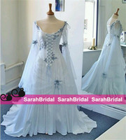 corset and tulle wedding dresses - 2016 Vintage Celtic Wedding Dresses Ivory and Pale Blue Colorful Medieval Bridal Gowns Scoop Corset Long Sleeves Appliques Custom Made Cheap