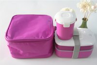 Wholesale High Quality Japanese Bento Lunch Box w Water Soup Mug Insulated Lunch Tote Bag Food Container Lunchbox Plastic Microwave OK