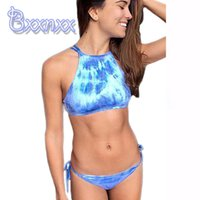 bathing services - 2016 High Neck Sport Sexy Brazilian Bikini Good Service Print Beach Swimsuit String Bandeau Bathing Suits Strappy Swimwear for women