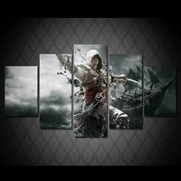assassin pc - 5 Set Framed Printed Game Assassins creed person Painting Canvas Print room decor print poster picture canvas ny