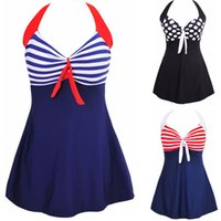 Além de roupas de banho de moda de tamanho Preços-Moda Sexy Stripe Padded Halter Saia Swimwear Mulheres One Piece Swimsuit Beachwear Bathing Suit Swimwear Dress Plus Size M-4XL