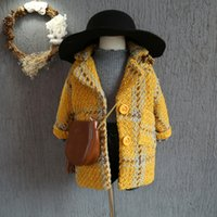 Wholesale Sweet Kids Girls Crochet Plaid Coats Candy Color Wool Blend Fall Winter Outwears Red and Yellow Color Holiday Clothing