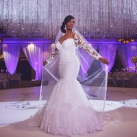 Wholesale Plus Size Mermaid Wedding Dresses Full Sleeve Vintage New Winter Lace Appliques Sheer Bridal Gowns Custom Made Fashion