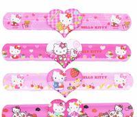 Wholesale 12PCS Hello Kitty Slap Bracelets baby shower favors girl birthday party supply kids gift souvenirs