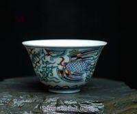antique paint colors - Phoenix Pattern Constracting Colors Tea Bowl Precious Porcelain Full Manual Hand Paint REAL CHINA Tea Cup Clashing Colors Tea Cup