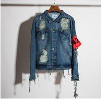 clothing chain - Hip hop men s denim jacket clothing fear of god Four Two Four spring summer broken hole jeans designer ripped denim jacket
