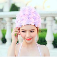 Wholesale The New Fashion Sexy Lace Flower Women Swimming Caps for Long Hair Printed Swimming Cap D