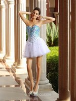 short tulle prom dress - 2016 A Line Princess Sleeveless Tulle Sweetheart Short Mini Ruffles Cocktail Homecoming Dresses with Rhinestone Short Prom Party Dress