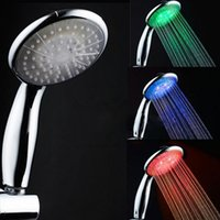 Wholesale 7 Beautiful Color Temperature Sensing Colour Changing LED Shower Head No Battery Needed Sexy And Funny